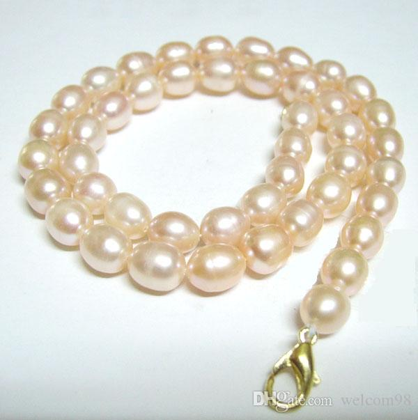 10pcs/lot Pink Rice Freshwater Pearl Fashion Beaded Necklace Lobster Clasp 16inch For DIY Craft Jewelry Gift P1