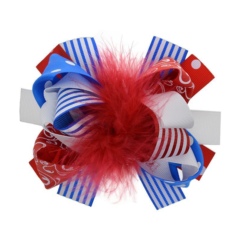 Meninas Headwear 8 pcs 5 Polegadas Grande Loopy Puffs Hairclip Para As Mulheres Júniors Moda Arcos de Cabelo Com Acessórios Para o Cabelo de Penas