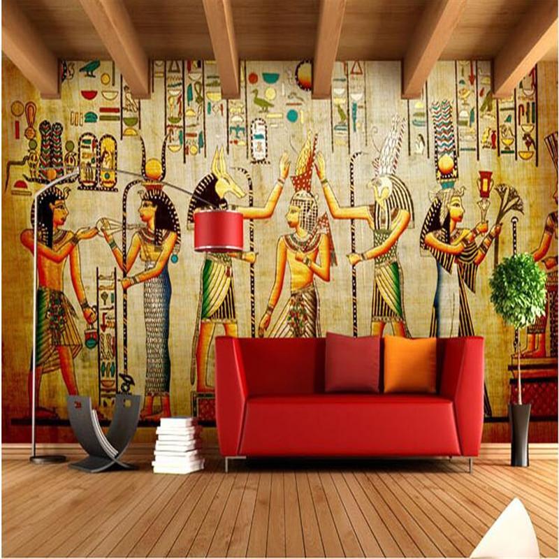 Vente en gros - Personnaliser le papier peint photo 3d Bar KTV personnalité rétro européenne personnes pharaon de l'Egypte pyramides 3D papier peint mural