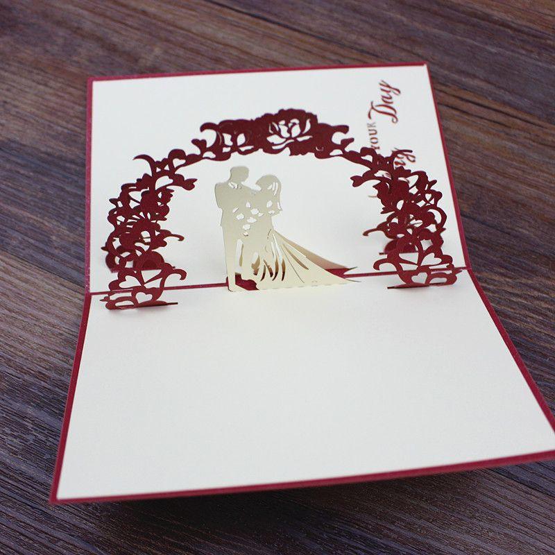 3d Handmade Valentine\'S Day Greeting Card Bride Groom Laser Cutting ...