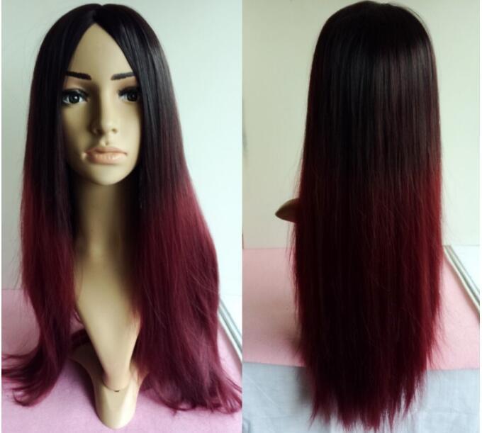 nuovo 2016 gradiente di colore rosso / nero / vino / 70 capelli del cuoio capelluto di simulazione set di parrucca tutta la linea mediana Lunga capelli lisci manutenzione giornaliera