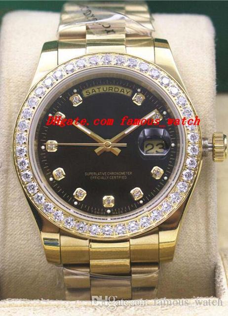 Relojes de lujo para hombre 18k oro amarillo Dial negro Bisel reloj 18338 Marca de moda automático reloj para hombre reloj