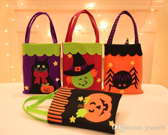 Halloween Trick or Treat bag pumpkin Witches ghost Bat reusable candy carry tote felt handbag organizer festive decor props gift wrap