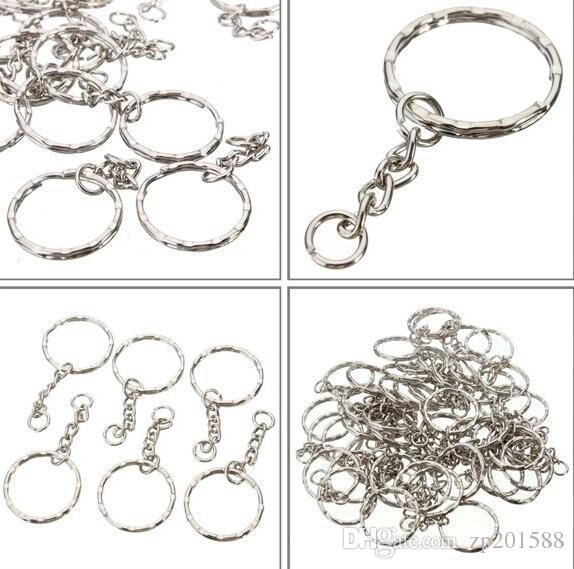 new Silver Keyring Blanks Tone Key chains Key Split Rings 4 Link Chain UK