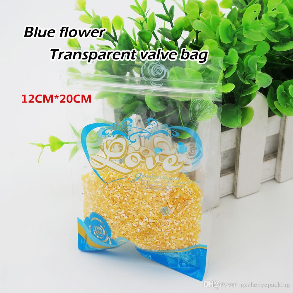 12 * 20cm 파란 꽃 투명한 비닐 봉투 음식 포장 저장 비닐 봉투 자동 밀봉 봉투 재사용 할 수있는 반점 100 / package
