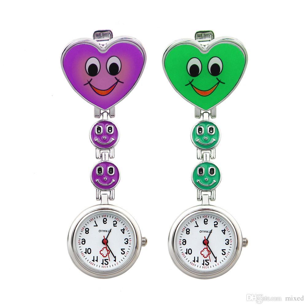 Форма сердца карманный медицинская сестра брошь Fob часы женщины платье часы клип на кулон висит кварцевые часы