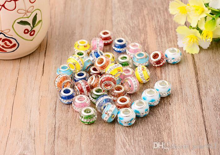Primer arcilla pavimentada Rhinestone cristalino perlas sueltas gran agujero 14 mm 8 colores Stocks para la fabricación de joyas de bricolaje Europa accesorios de la pulsera