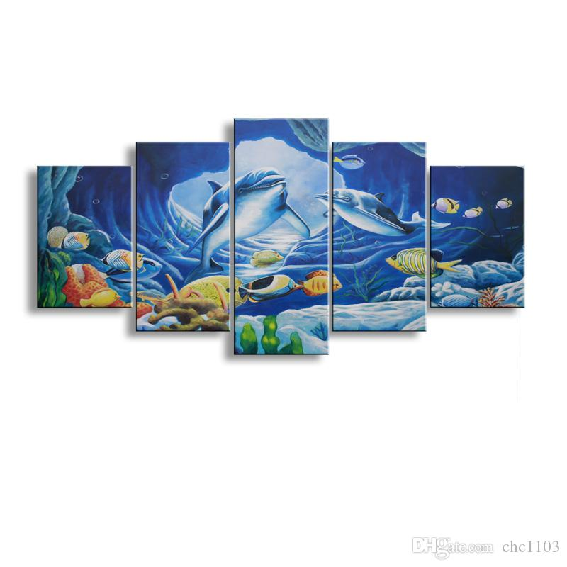 5 Panel whale Painting Canvas Wall Art Picture Home Decoration Living Room Canvas Print Modern Painting--Large Canvas Art Cheap SD-007