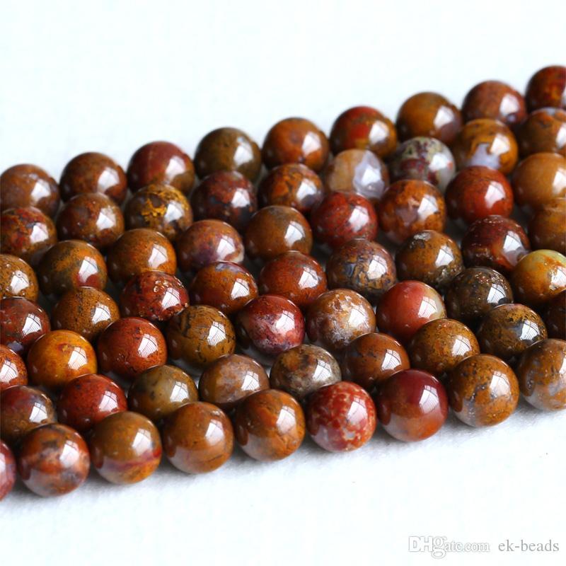 "Natural Genuine Zhan Guo Hong Oriental Onyx Round Loose Gemstone Stone Beads 15.5"" 05239"