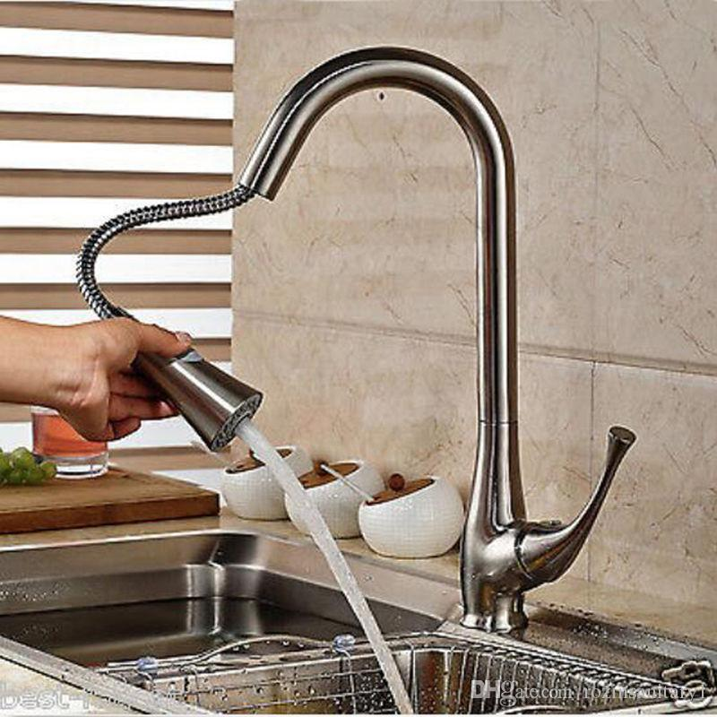 Wholesale And Retail Pull Out Brushed Nickel Kitchen Faucet Single Handle Hole Centerset Vessel Sink Mixer Tap Hot And Cold