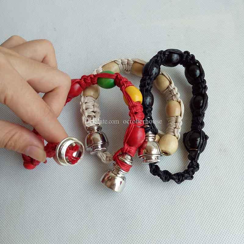 Handmade stash bracelet smoking pipe Metal tobacco herb incognito Hand Cigarette Pipes 3 color sneak a toke click n vape discreet