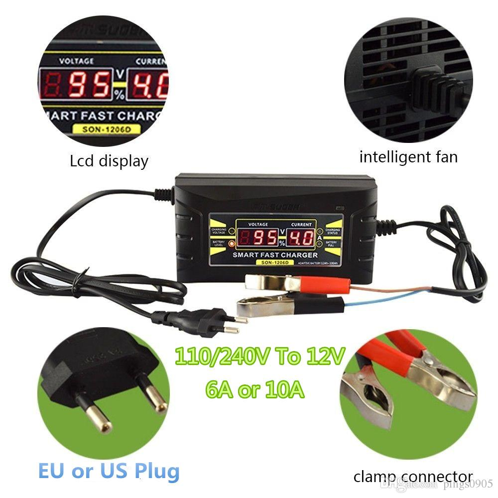 Car 12V 10A Universal Auto Smart Fast Lead-acid Battery Charger LCD Display