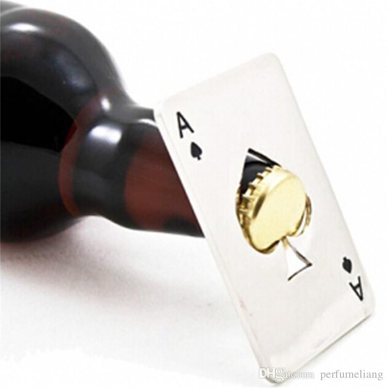 Creative Poker Card Beer Bottle Opener Personlig Roligt Rostfritt Stål Kreditkort Flasköppnare Kort av Spades Bar Tool S201702