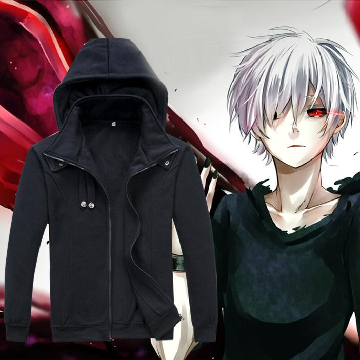 Wholesale- Tokyo Ghoul Hoodie Anime Ken Kaneki Cosplay Reißverschluss Baumwolle Schwarz mit Kapuze Jacken-Mantel-Sweatshirt