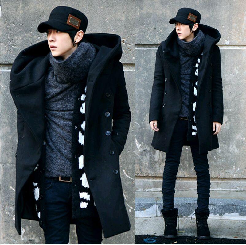Al por mayor-Abrigo de los hombres, gris negro azul marino 2016 Moda barato Mens Pea Coat con capucha doble Breasted Long Wool Trench Coat