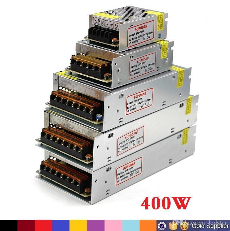 Alta Qualidade DC 12 V Led Transformador 70 W 120 W 180 W 200 W 240 W 300 W 360 W 400 W fonte de Alimentação Para Tiras Levadas LEVOU Módulos AC 100-240 V