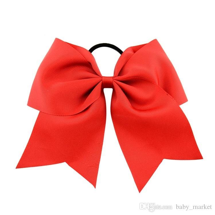 10pcs196 Couleurs 8 pouces Girls Cheerleading Cheveux Bow Grosgrain Ruban Ruban Bow Elastic Band Porte-Cheveux de queue de cheval pour Girl Hair Bands