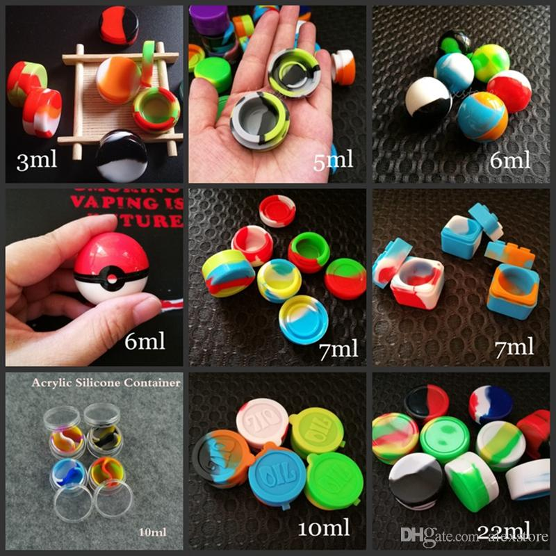 10 types silicone wax containers jars dab 3ml 5ml 6ml 7ml 10ml 22ml round ball square acrylic holder storage dabber tool vaporizer