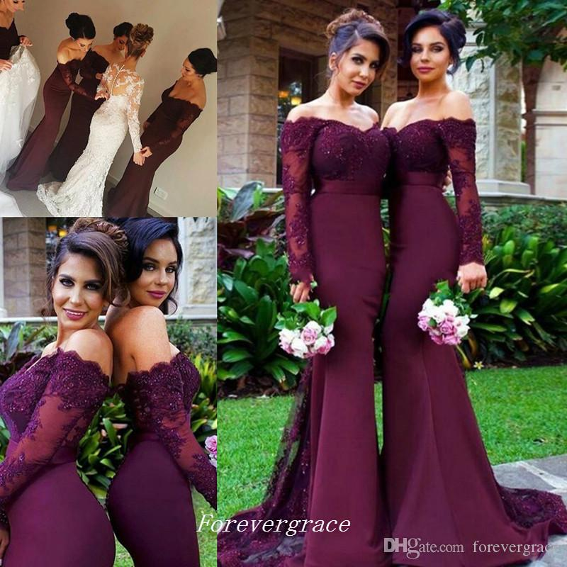 Cheap Lace Burgundy Mermaid Long Sleeve Bridesmaid Dress Open Back Maid of Honor Dress Wedding Guest Gown Custom Made Plus Size