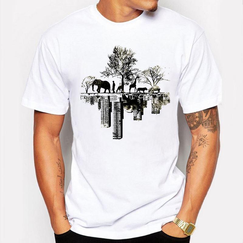 Мужская одежда лето мужчины футболка дерево животных слон печатных повседневная мужская Slim Fit с коротким рукавом смешные футболка Футболка homme de marque