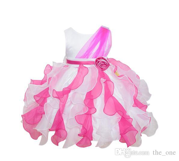 Girls Clothes Petal Baby Easter Dress Bow Sash Little Kids Baby Wedding Dresses Child Formal Princess Suits Clothes