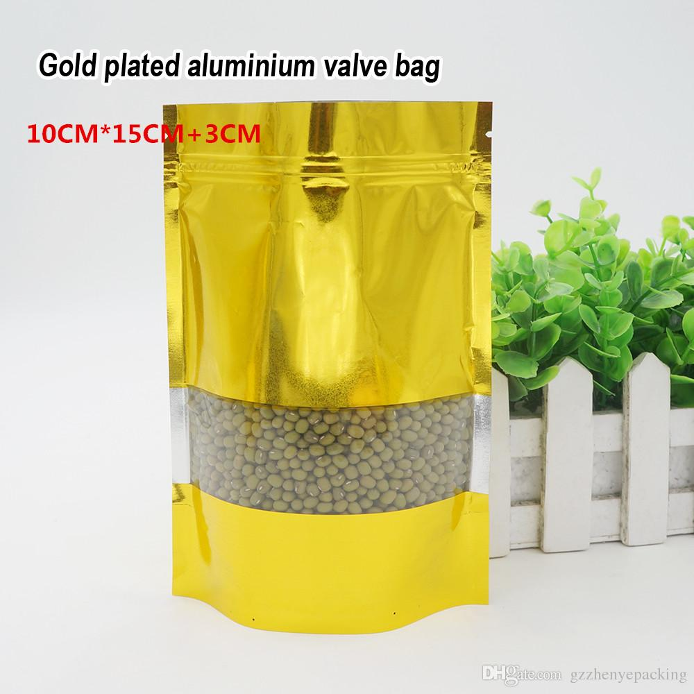 10 * 15 + 3cm Lamina di alluminio dorato sacchetto in stoffa autoprodotto per uso alimentare Materiale per imballaggio alimentare Ornamenti per borse Spot 100 / confezione