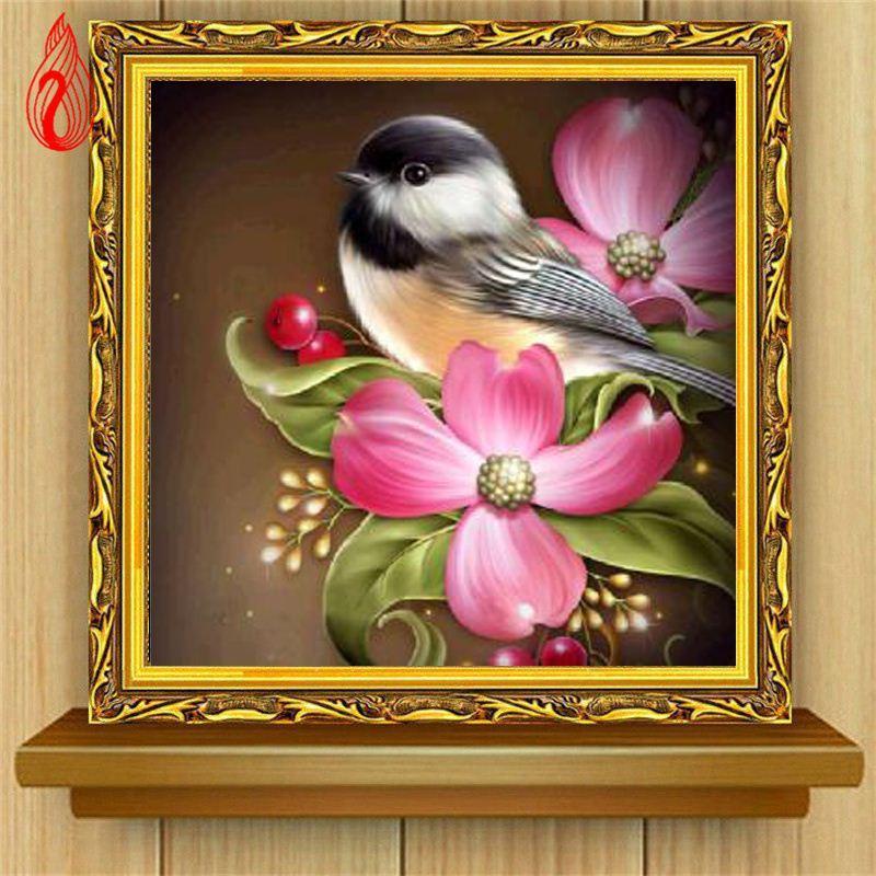 Promozione DIY 5D Diamante Ricamo L'uccello e fiori Rotondo Diamante Pittura Kit punto croce Diamante Mosaico Decorazione domestica