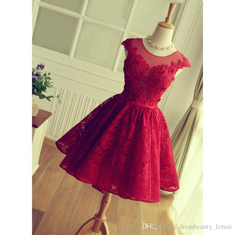 Red Lace Cocktail Dress Vintage Abendkleider Real Pictures Party Gowns Scoop Open Keyhole Back Burgundy Short Prom Dresses 2020