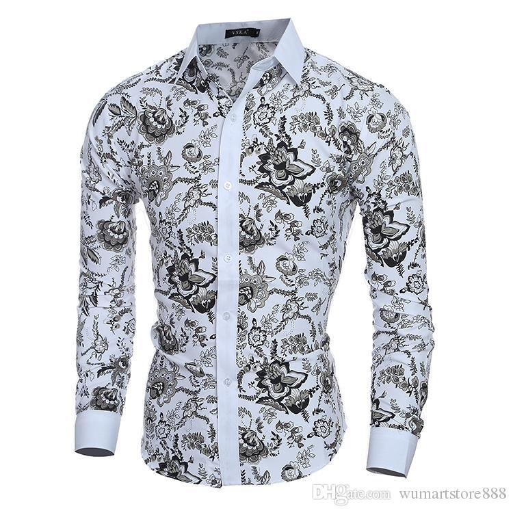Compre Hombre Vestir Camisas De Vestir Camisa Para Hombres Slim Fit Chemise Homme Camisa De Hombre Flores étnicas Heren Hemden Camisa Masculina Xxl A