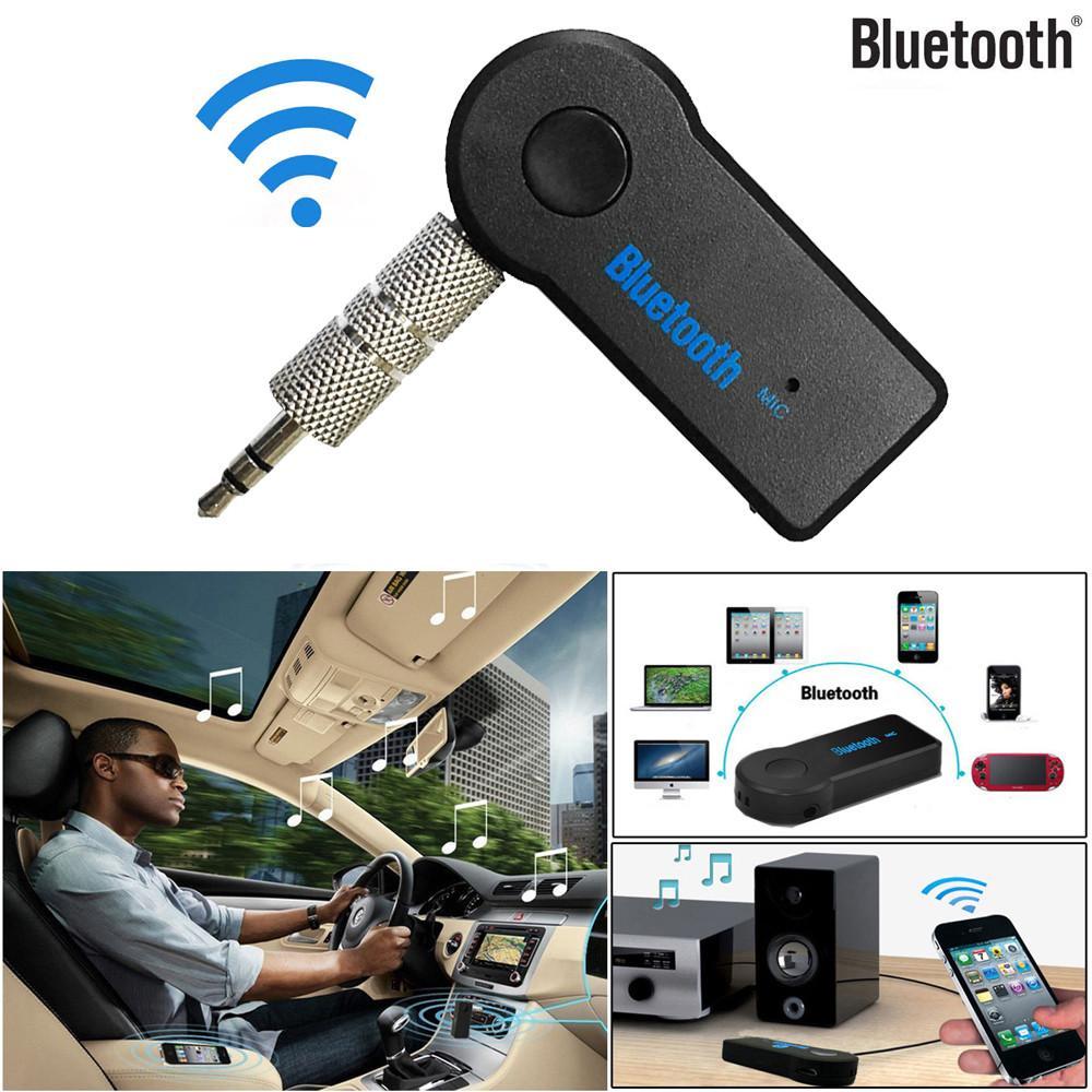 2017 Manos libres de coche Bluetooth Music Receiver universal 3.5mm A2DP Streaming auto sin hilos audio AUX adaptador con el Mic para el teléfono MP3
