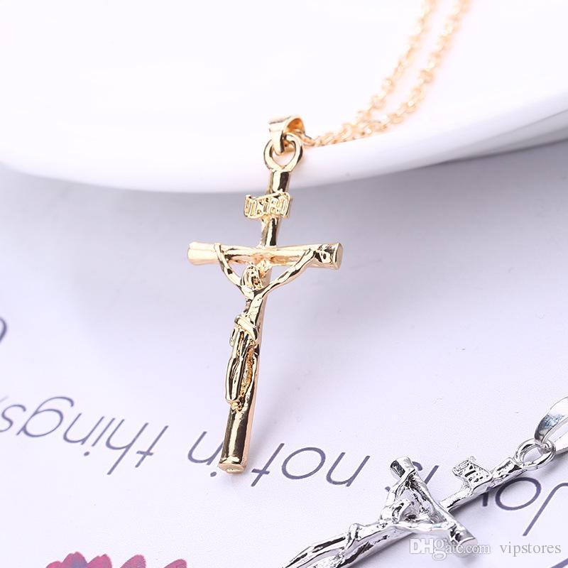Venta superior de alta calidad precio bajo chapado en oro jesús cruz colgante collar joyería religiosa crucifijo collar al por mayor