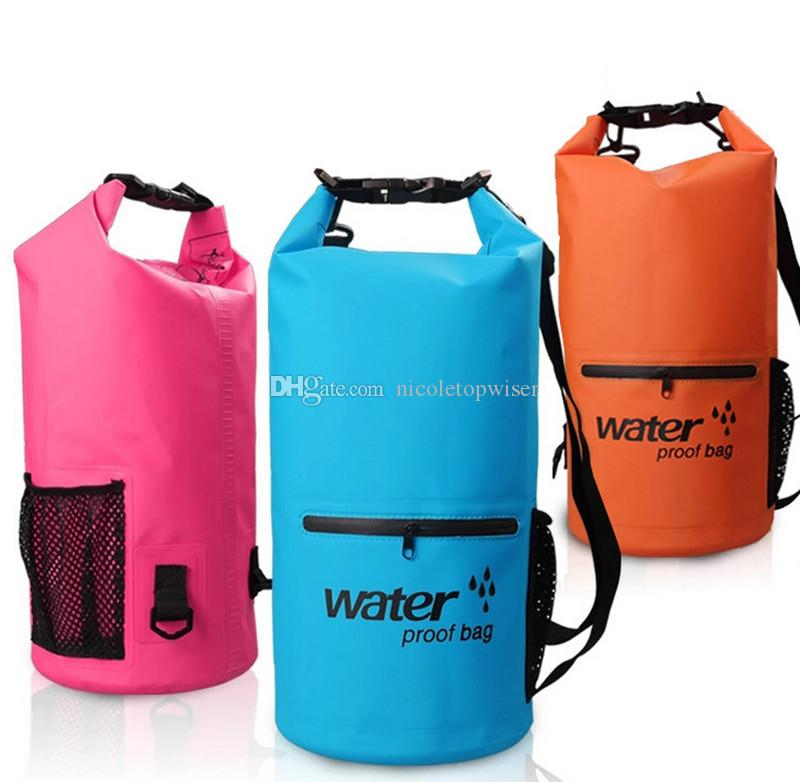 10L DrySak Premium Waterproof Dry Bag with Exterior Zip Pocket Keeps Gear Safe & Dry During Watersports & Outdoor Activities Rugged 500D PVC