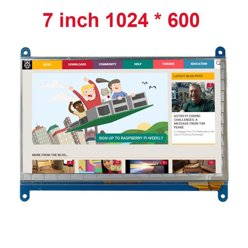 Freeshipping 7 Inch Raspberry Pi 3 Touch Screen 1024 * 600 LCD Display HDMI Interface TFT Monitor Module Compatible Raspberry Pi 2 Model B