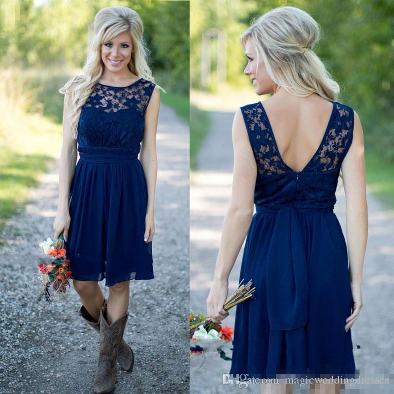 Hot Navy Blue Bridesmaid Dresses 2016 Sexy Sheer Lace Jewel Neck A Line Backless Chiffon Beach Country Style Bridesmaids Dress Knee Length