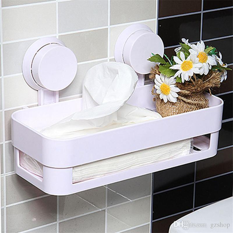 strong sucker bathroom glass shelf wall hanging shower room corner rack storage holder sorting basket