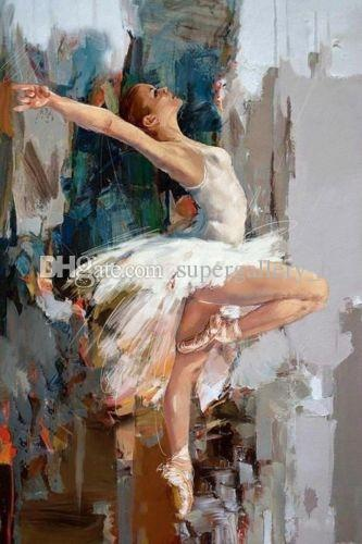 100% Handpainted Modern Abstract Portrait Art Oil painting Ballet Dancer,On High Quality Canvas for Home Wall Decor size can be customized