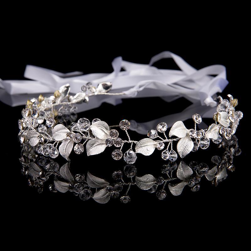 New Fashion Metal Silver Bridal Hair Accessories Handmade Wedding Hair Jewelry Headband Tiara Women Headpiece Rhinestone Gifts Hairband