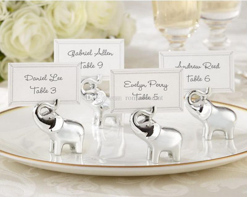 """""""Lucky in Love"""" Silver-Finish Lucky Elephant Place Card / Photo Wedding Favor Party Prezenty Klips z kartą DHL Darmowa wysyłka"""
