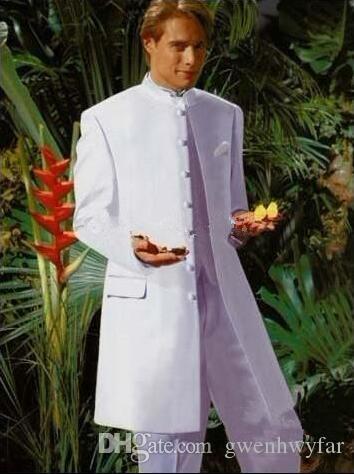 Neue Stil Weiß Bräutigam Smoking Mandarin Revers Groomsmen Trauzeuge Hochzeit Anzüge Abendessen Prom Formelle Kleidung Bräutigam (Jacke + Pants + Weste)