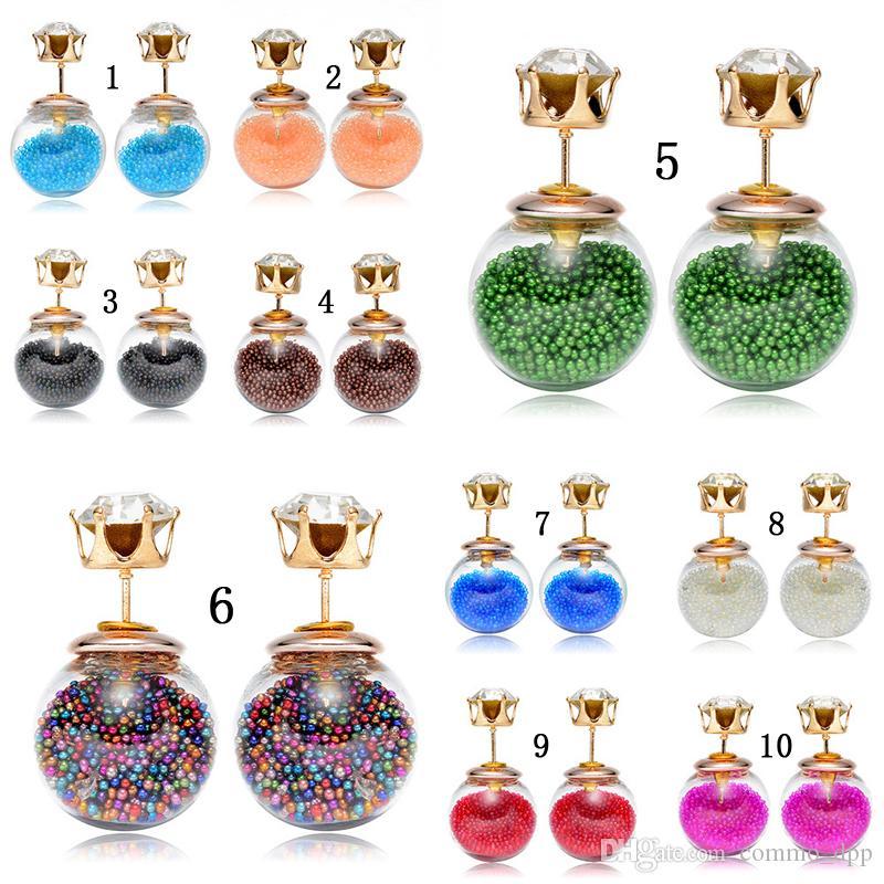 Vendita calda bifacciale perle donne orecchini trasparente Vetro Cubic Zirconia CZ orecchini per gioielli di colore della caramella Quicksand gioielli di moda