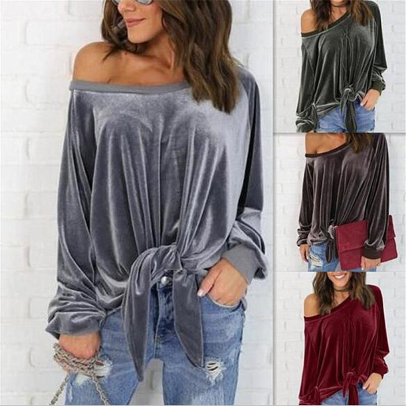 Sexy-Loose-Velvet-T-Shirt-Women-Tied-Up-Bowknot-Tee-Tops-Women-Long-Sleeve-Pullover-Shirts (4)