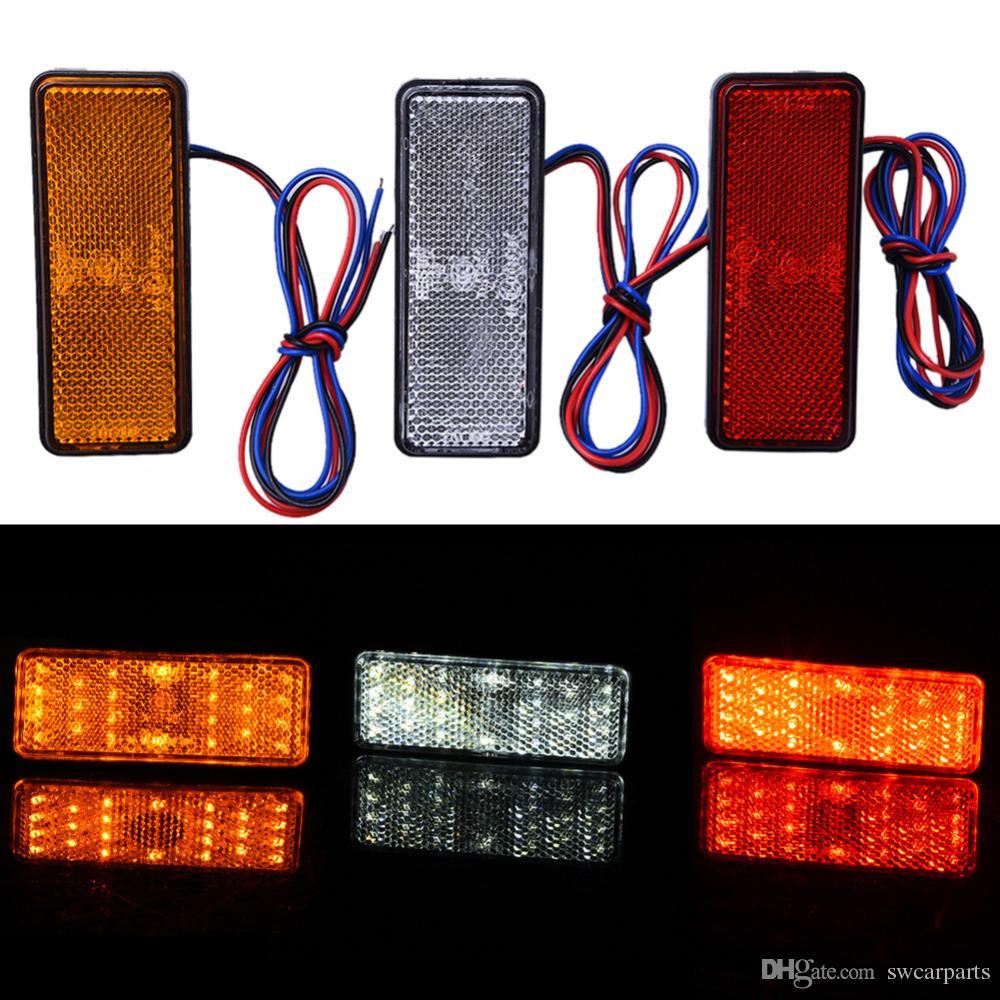 24LED Motosiklet LED Reflektör Kuyruk Fren Dönüş Sinyali Işık Lambası Dikdörtgen Araba / ATV LED Reflektörler / Kamyon Yan Uyarı Işıkları