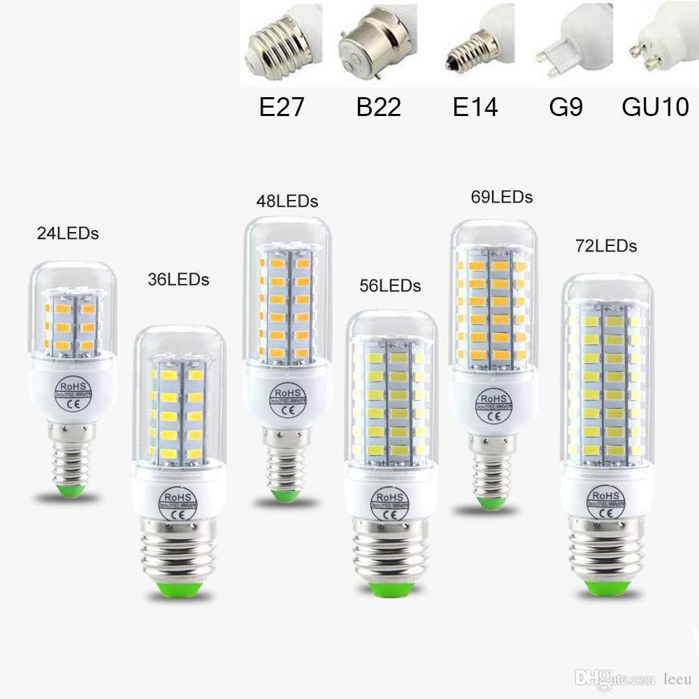 SMD5730 E27 GU10 B22 E12 E14 G9 LED المصابيح 7W 9W 12W 15W 18W 110V 220V 360 زاوية لمبة LED الذرة الصمام ضوء