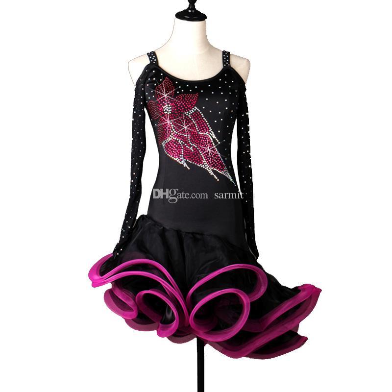 Vestido de baile latino Mujeres Niñas Salsa latina Concurso de baile Vestidos Disfraces de samba D0294 Piedras de imitación Apliques Fluffy Sheer Hem Manga larga