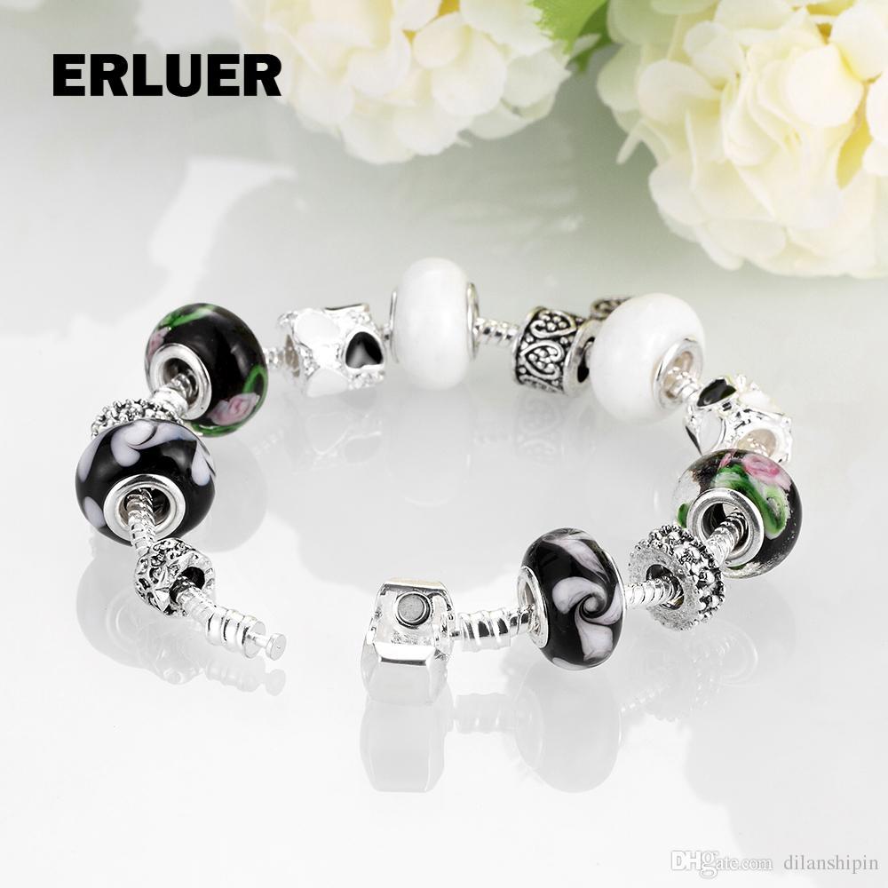 Vintage European Wholesale Jewelry Heart Charm Bracelets Bangle For Women  Girls Sterling Silver Chain Glass Beads