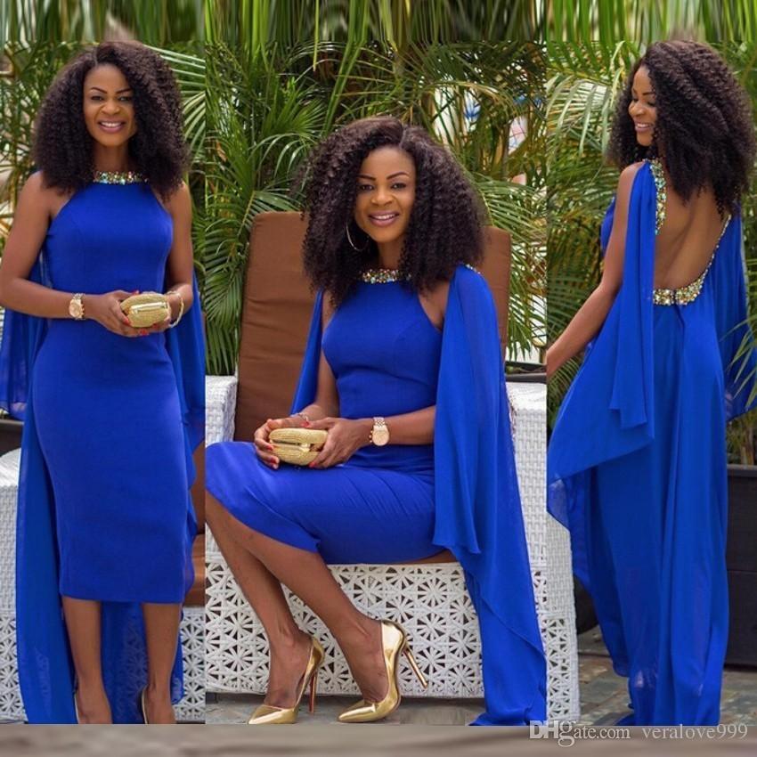 Royal Blue Crystal Robe de soirée africaine Moyen-Orient Arabie Saoudite Open Back Robes de cérémonie Wed Guest Women Dress Fashion New Designe