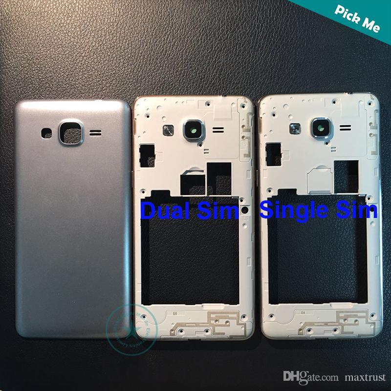 De calidad superior para Samsung Galaxy Grand Prime SM-G531 G531 G531F marco medio bisel + tapa de la batería de la puerta trasera de 4 colores