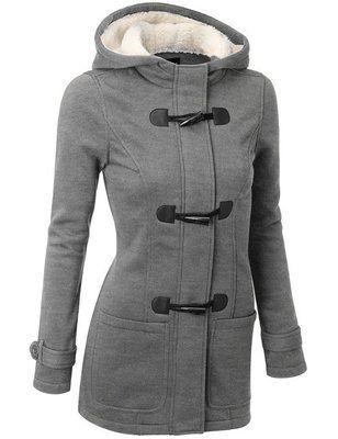 Autumn Hooded Horn Button Coat Women Winter Parkas Grey Outwear 2017 New Fashion Long Women Overcoat