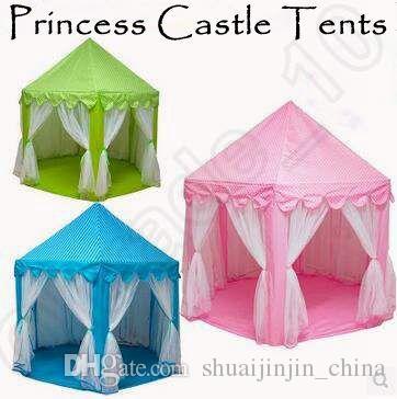 3 가지 색상 INS 키즈 휴대용 장난감 텐트 공주 성 게임 놀이 텐트 활동 요정 하우스 재미 실내 야외 스포츠 플레이 하우스 CCA5396 10pcs