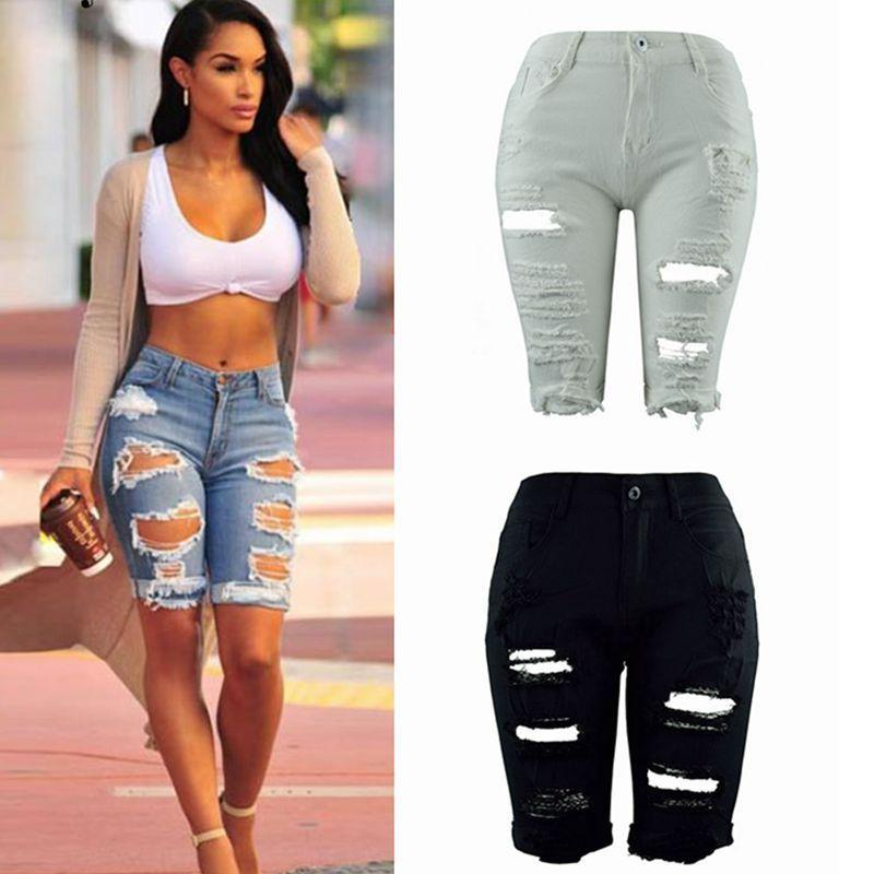 Toptan-Women Bayanlar Kot Şort Stretch Delik Denim Jeans Skinny Günlük Pantolon Ripped